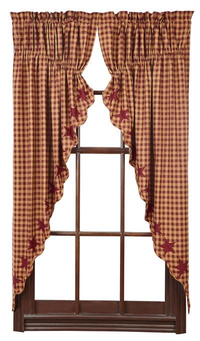 Burgundy Star Prairie Curtain