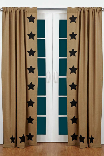 Burlap Black Star Panels (84 inch)