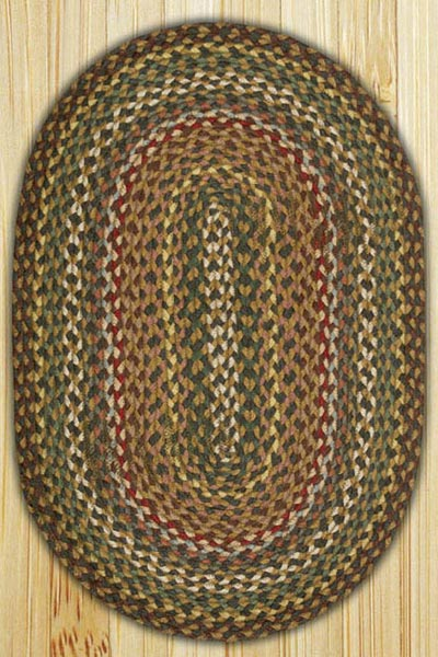Fir / Ivory Oval Jute Rug (Special Order Sizes)