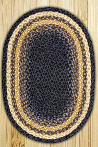 Light/Dark Blue and Mustard Oval Jute Rug (Special Order Sizes)