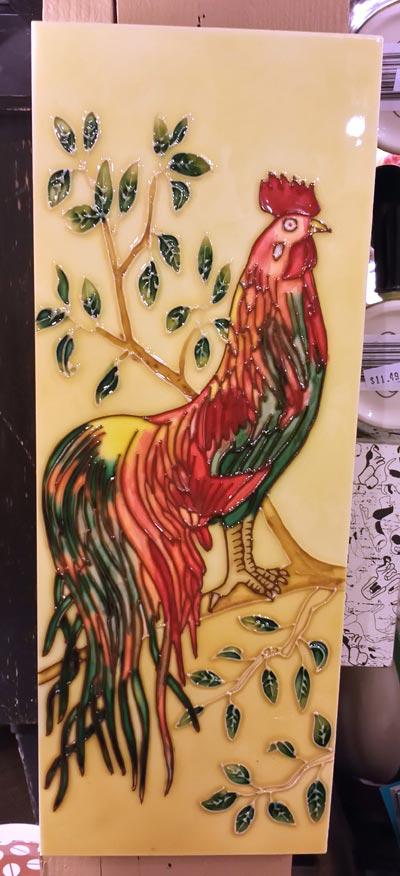Rooster Vertical Art Tile