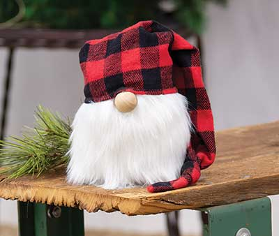 Gnome with Red Buffalo Check Hat