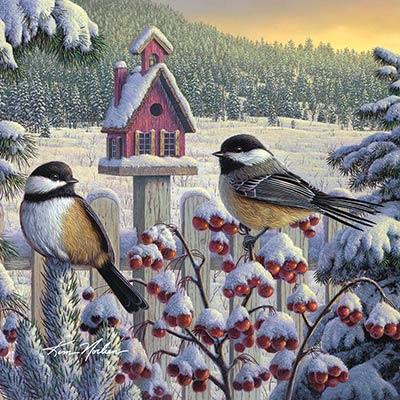 Winter Chickadees Coaster
