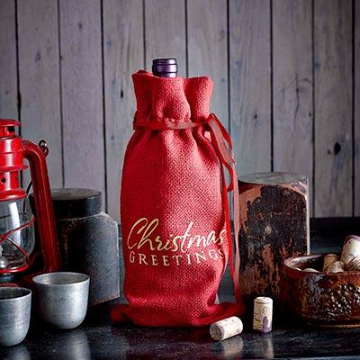 Christmas Greetings Red Burlap Wine Bag