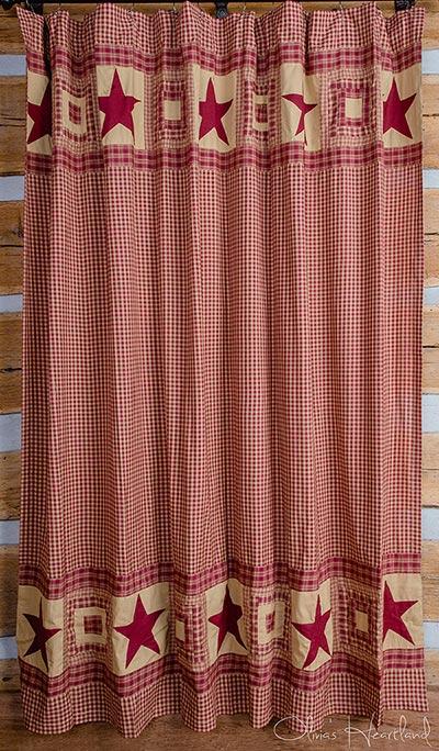 Colonial Star Burgundy Shower Curtain