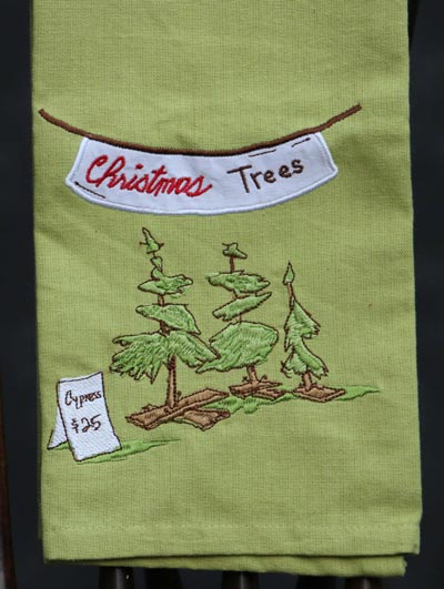 Cypress Trees Embroidered Dishtowel