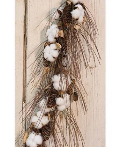 Cotton Ball & Pinecone 40 inch Garland