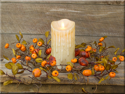 Fall Mini Pumpkins 4.5 inch Candle Ring
