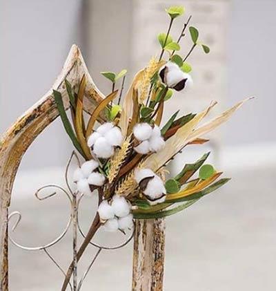 Cotton Ball & Wheat Spray
