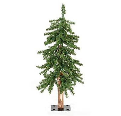 Pre-Lit Alpine Christmas Tree - 3 foot