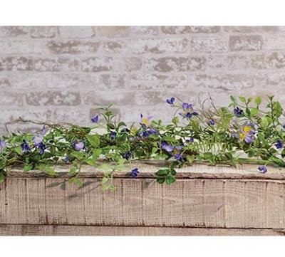 Blue Violets Floral Garland