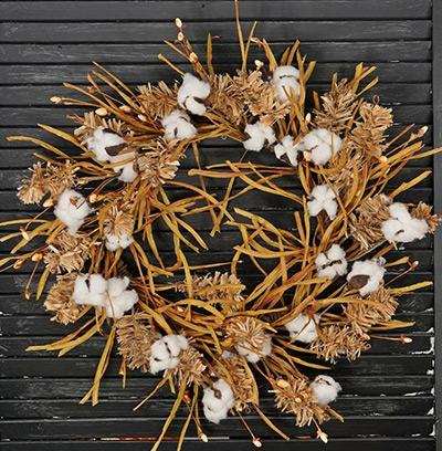Fall Grass & Cotton Wreath