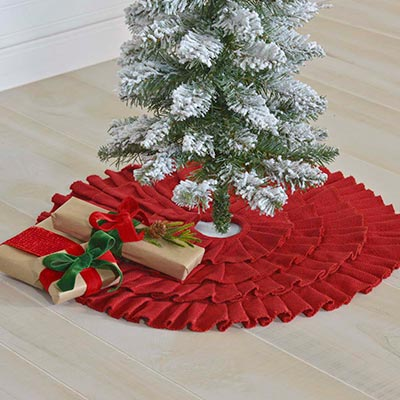 Festive Red Burlap Ruffled Mini 21 Inch Tree Skirt