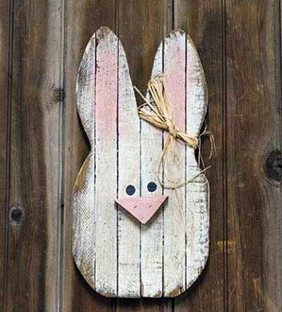 Large Lath Bunny Head Wall Decor