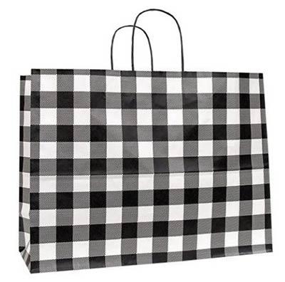 Large Buffalo Check Black Gift Bag