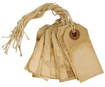 2.75 inch Tea Stained Gift Tags (Pack of of 12)