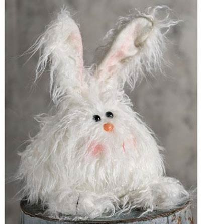 Fuzzy White Angora Bunny Doll - Medium