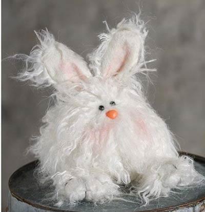 Fuzzy White Angora Bunny Doll - Small