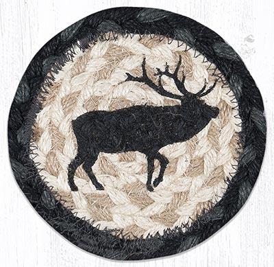 Elk Silhouette Braided Coaster
