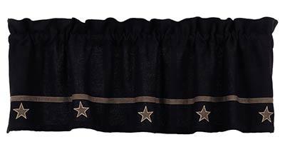 Black Star Burlap Valance