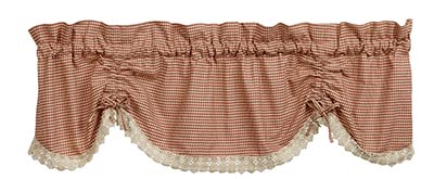 Ava Wine Red Check & Lace Scalloped Valance