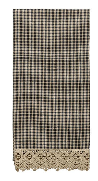 Ava Black Check & Lace Kitchen Towel