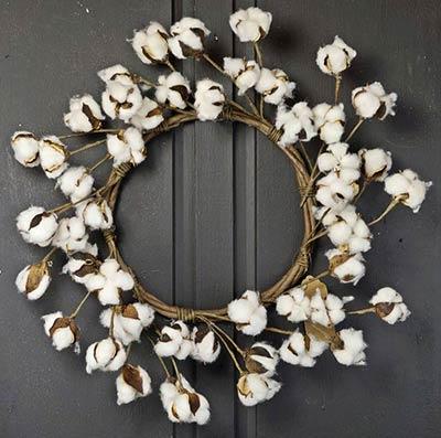 Cotton Ball 22 inch Wreath