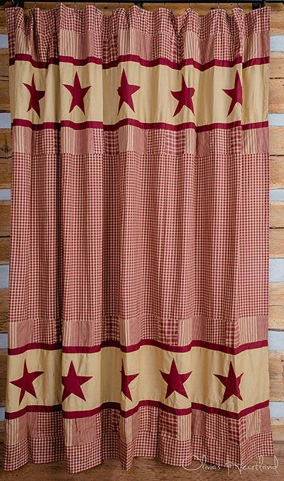 Jamestown Burgundy and Tan Shower Curtain