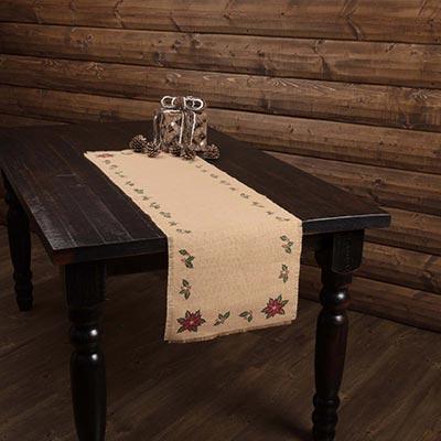 Jute Burlap Poinsettia 48 inch Table Runner