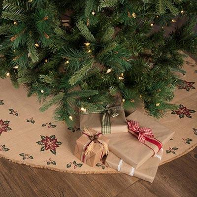 Jute Burlap Poinsettia 60 inch Tree Skirt