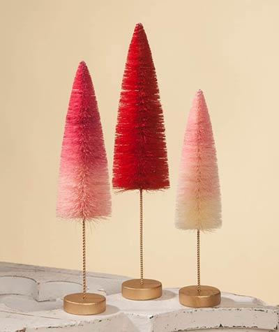 Valentine Ombre Bottle Brush Trees (Set of 3)