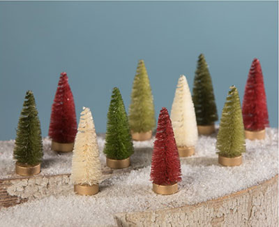 Mini Traditional Bottle Brush Trees (Set of 10)