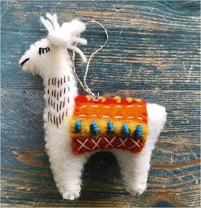 Llama Wool Ornament - Yellow/Orange Blanket