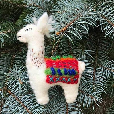 Llama Wool Ornament - Red Blanket