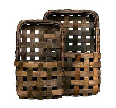 Tobacco Basket Wall Pockets (Set of 2)