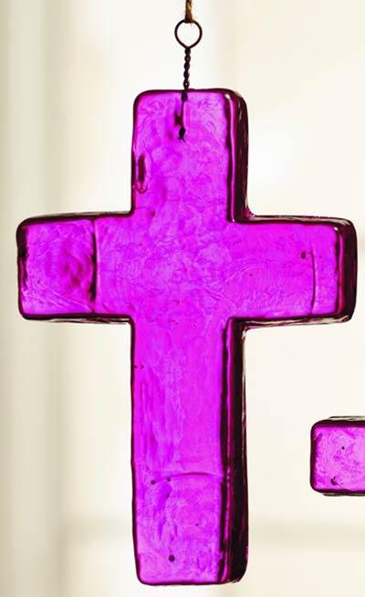 Dark Pink Glass Cross Ornament - Medium