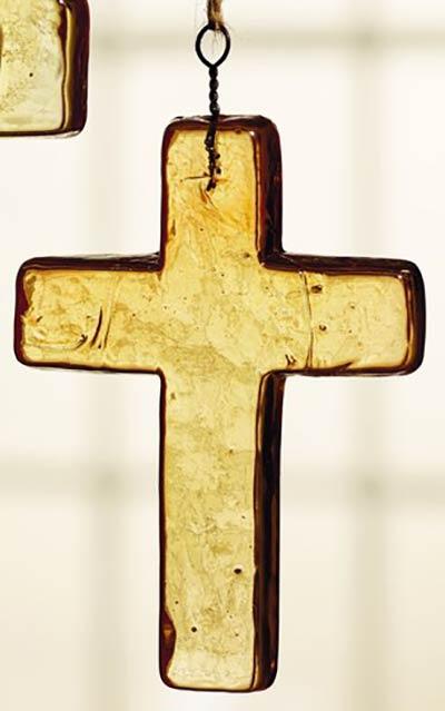 Amber Glass Cross Ornament - Medium