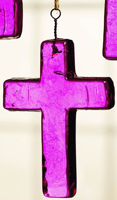 Dark Pink Glass Cross Ornament - Small