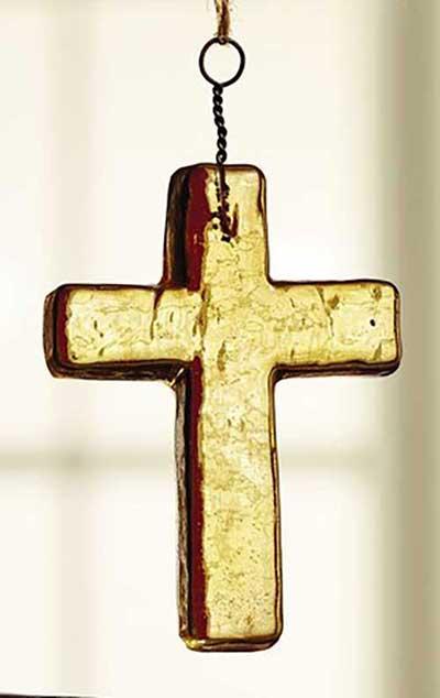 Amber Glass Cross Ornament - Small