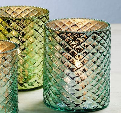 Blue & Green Mercury Glass Candle Holders (Set of 2)