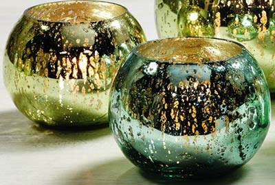 Blue & Green Mercury Glass Round Candle Holders (Set of 2) - Smaller