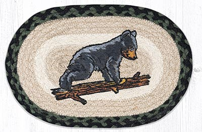 Bear Cub Printed Braided Oval Tablemat