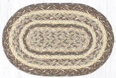 Khaki Braided Oval Tablemat
