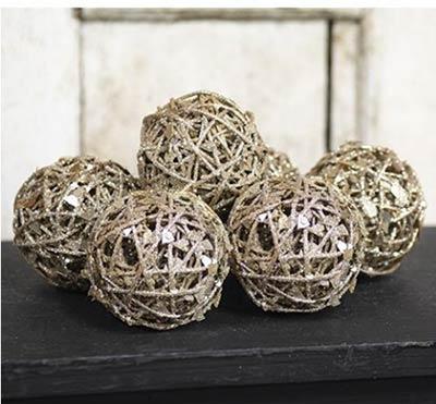 Glittered Grapevine Twig Balls