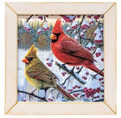 Winter Cardinals Framed Print - 13 x 13 inch