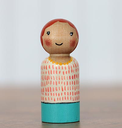 Coral & Teal Girl Peg Doll (or Ornament)