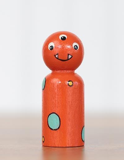 Orange Monster Peg Doll (or Ornament)