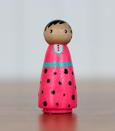 Neon Pink Girl Peg Doll (or Ornament)