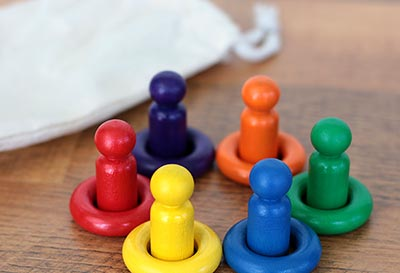 Rainbow Mini Peg Doll Matching Set (12 pc)