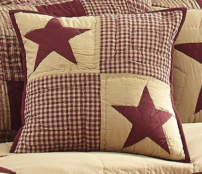 Jamestown Burgundy & Tan Quilted Pillow Cover